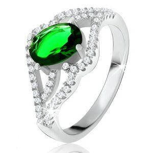 Prsteň s oválnym zeleným kameňom, zvlnené zirkónové ramená, striebro 925 - Veľkosť: 60 mm