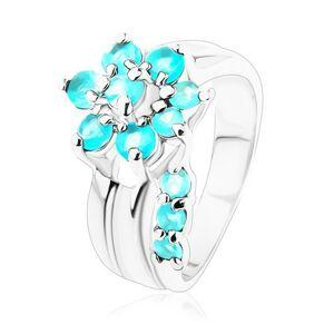 Prsteň s rozdelenými ramenami, kvet so stonkou v akvamarínovej farbe - Veľkosť: 49 mm