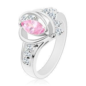 Prsteň s rozdelenými zirkónovými ramenami, veľké ružové zrnko, oblúčiky - Veľkosť: 58 mm