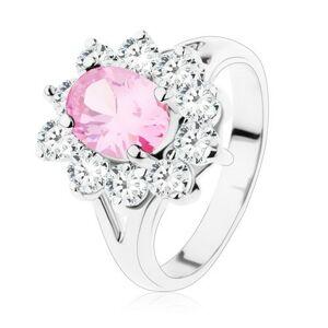 Prsteň s rozdvojenými ramenami, ružový zirkónový ovál, číre lemovanie - Veľkosť: 49 mm