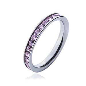 Prsteň s ružovými zirkónmi - oceľová obrúčka - Veľkosť: 52 mm