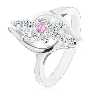 Prsteň striebornej farby, číre zirkónové línie, ružový zirkónik v strede - Veľkosť: 59 mm