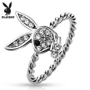 Prsteň striebornej farby, Playboy zajačik s čírymi zirkónmi a čiernym očkom - Veľkosť: 50 mm
