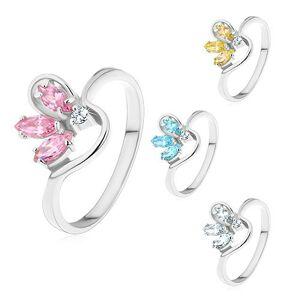 Prsteň striebornej farby, polovičný farebný kvet zo zirkónov, zvlnené ramená - Veľkosť: 59 mm, Farba: Ružová