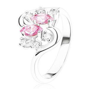 Prsteň striebornej farby so zvlnenými ramenami, ružové a číre zirkóny - Veľkosť: 48 mm