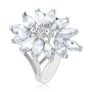 Prsteň striebornej farby, veľký kvet tvorený zirkónovými zrnkami - Veľkosť: 51 mm, Farba: Svetlofialová