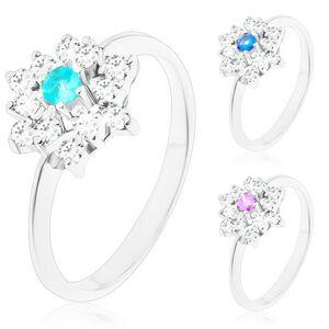 Prsteň striebornej farby, žiarivý zirkónový kvet s farebným stredom - Veľkosť: 58 mm, Farba: Modrá svetlá