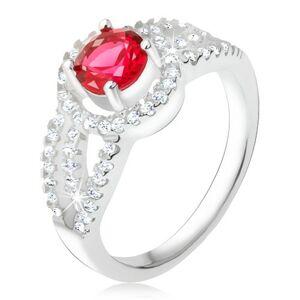 Prsteň striebro 925, červený kameň so zirkónovým rámom, oblé línie - Veľkosť: 52 mm