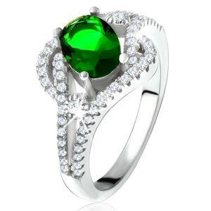 Prsteň - striebro 925, zaoblené línie, číre kamienky, oválny zelený zirkón - Veľkosť: 58 mm