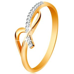 Prsteň v 14K zlate - asymetricky prepletené ramená, okrúhle číre zirkóny - Veľkosť: 54 mm