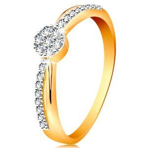 Prsteň v 14K zlate - prekrížené dvojfarebné línie ramien, okrúhly zirkónový kvietok - Veľkosť: 54 mm