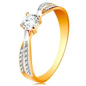 Prsteň v 14K zlate - prepojené dvojfarebné línie ramien, okrúhly zirkón čírej farby - Veľkosť: 58 mm
