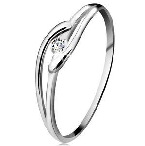 Prsteň v bielom zlate 585 s trblietavým diamantom, rozdelené zvlnené ramená - Veľkosť: 53 mm