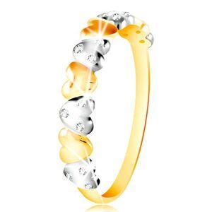 Prsteň v kombinovanom zlate 585 - dvojfarebné srdiečka, číre zirkóny - Veľkosť: 58 mm