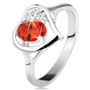Prsteň v striebornej farbe, kontúra srdca s oranžovým oválom a čírymi zirkónmi - Veľkosť: 60 mm