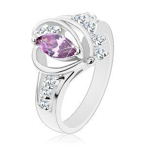 Prsteň v striebornom odtieni, fialový zirkón, hladké oblúky, číre zirkóny - Veľkosť: 57 mm