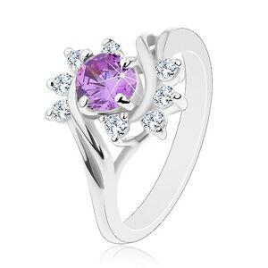 Prsteň v striebornom odtieni, okrúhly fialový zirkón, ligotavé číre oblúky - Veľkosť: 62 mm