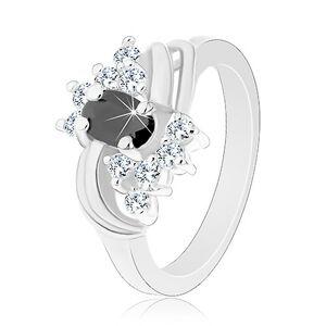 Prsteň v striebornom odtieni s hladkými lesklými oblúkmi, čierno-číre zirkóny - Veľkosť: 52 mm
