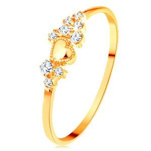 Prsteň v žltom 14K zlate - drobné číre zirkóny a lesklé vypuklé srdiečko - Veľkosť: 62 mm