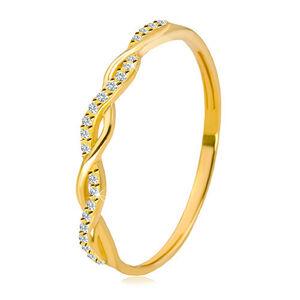 Prsteň v žltom 14K zlate - dve vzájomne prepletené línie, okrúhle číre zirkóniky - Veľkosť: 57 mm