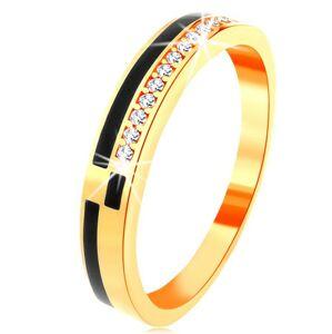 Prsteň v žltom 14K zlate - pásy z čiernej glazúry, línia zirkónikov čírej farby - Veľkosť: 59 mm
