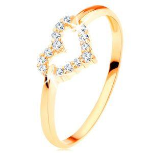 Prsteň v žltom 14K zlate - trblietavý obrys súmerného srdiečka - Veľkosť: 58 mm