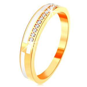 Prsteň v žltom 14K zlate - úzke línie z čírych zirkónikov a bielej glazúry - Veľkosť: 51 mm