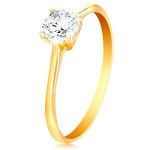 Prsteň v žltom 14K zlate - žiarivý číry zirkón v lesklom vyvýšenom kotlíku - Veľkosť: 56 mm