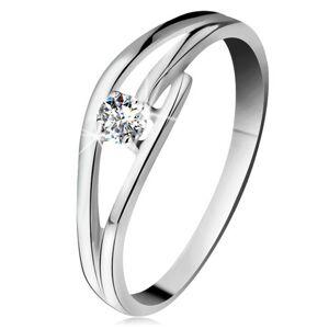 Prsteň z bieleho zlata 585 s trblietavým diamantom, rozdelené zvlnené ramená - Veľkosť: 52 mm