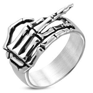 Prsteň z chirurgickej ocele - kostra ruky so zdvihnutým prstom, patina - Veľkosť: 62 mm