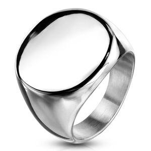 Prsteň z chirurgickej ocele, plochý lesklý kruh, strieborná farba - Veľkosť: 61 mm