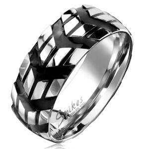 Prsteň z chirurgickej ocele so vzorom čiernych šípok, 8 mm - Veľkosť: 70 mm