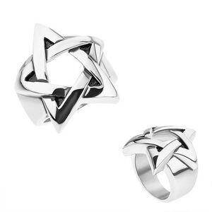 Prsteň z chirurgickej ocele, strieborná farba, patinovaný pentagram - Veľkosť: 62 mm