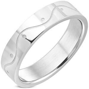 Prsteň z chirurgickej ocele striebornej farby - vlnka, 6 mm - Veľkosť: 59 mm
