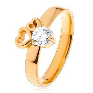 Prsteň z chirurgickej ocele zlatej farby, dva obrysy sŕdc, číry zirkón - Veľkosť: 59 mm