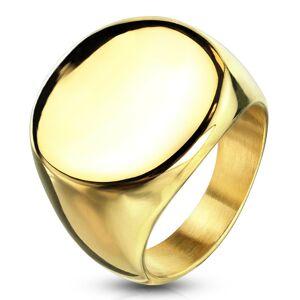 Prsteň z chirurgickej ocele zlatej farby s kruhom, lesklý - Veľkosť: 48 mm
