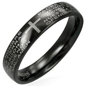 Prsteň z čiernej chirurgickej ocele s modlitebným náboženským textom - Veľkosť: 51 mm