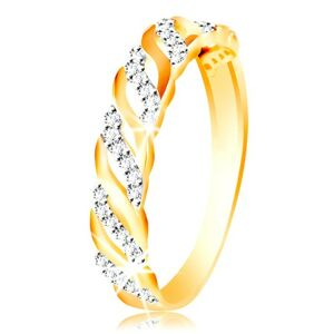 Prsteň z kombinovaného zlata 585 - hladké a zirkónové vlnky - Veľkosť: 51 mm