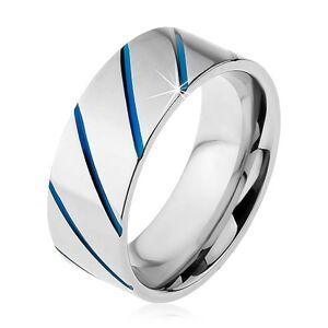 Prsteň z ocele 316L striebornej farby, modré diagonálne pásy, 8 mm - Veľkosť: 62 mm
