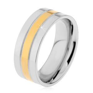 Prsteň z ocele 316L strieborno-zlatej farby - tri lesklé pásy, 8 mm - Veľkosť: 59 mm