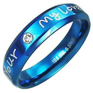 Prsteň z ocele - modrá farba, zaľúbený nápis - Veľkosť: 59 mm