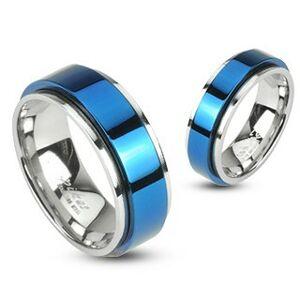 Prsteň z ocele otáčavý - modrý - Veľkosť: 56 mm