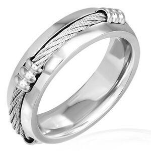 Prsteň z ocele s keltským lanom a zníženými okrajmi - Veľkosť: 70 mm
