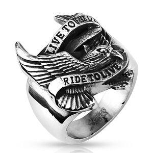 Prsteň z ocele s motívom orla a nápisom - Veľkosť: 66 mm