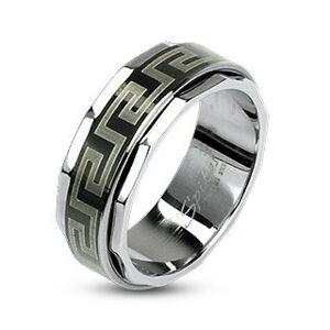 Prsteň z ocele s otáčavým stredom v gréckom štýle - Veľkosť: 64 mm