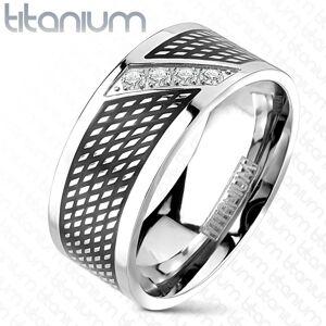 Prsteň z titánu - čierna a strieborná farba, zirkóny v diagonálnej línii - Veľkosť: 65 mm