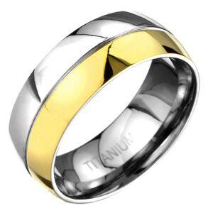 Prsteň z titánu - zlato-striebornej farby zaoblená obrúčka s deliacou ryhou - Veľkosť: 65 mm