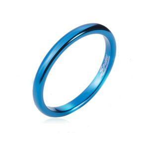 Prsteň z tungstenu - hladká modrá obrúčka, zaoblená, 2 mm - Veľkosť: 60 mm