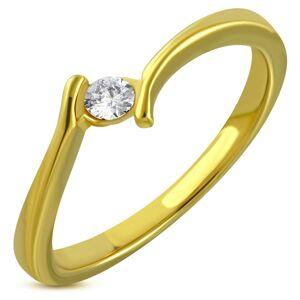 Prsteň zlatej farby z chirurgickej ocele - zahnuté ramená, trblietavý zirkón - Veľkosť: 59 mm
