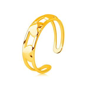Prsteň zo 14K zlata - tri súmerné zrkadlovolesklé srdcia medzi dvoma líniami - Veľkosť: 52 mm